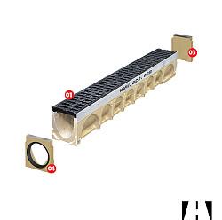 ACO Multidrain D100 Eindplaat + zijuitloop 110mm