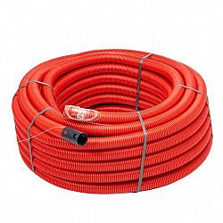 75 mm kabelbuis rood 50 meter+touw /rol