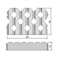 Grastontegel 12x40x60cm 60cm-zijde vlak