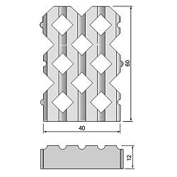 Grastontegel 12x40x60cm 40cm-zijde vlak