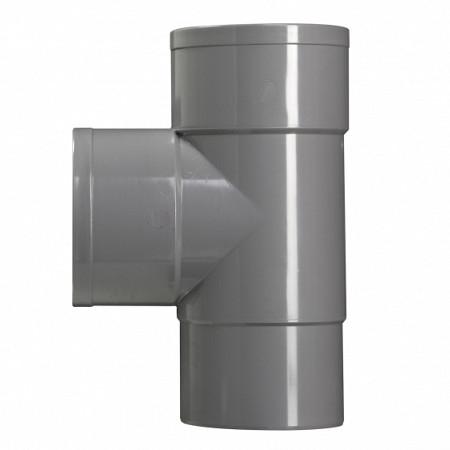 100 mm T-stuk 2x lijmmof grijs hwa